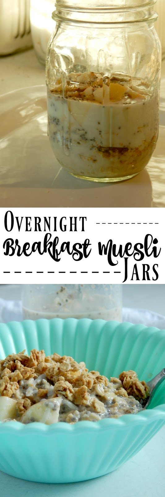 Overnight Breakfast Muesli Jars...a fun, healthy breakfast!  Oats, ground flaxseed, chia seeds, coconut, diced fruit, milk and more make the most delicious, yummy breakfast! (sweetandsavoryfood.com)