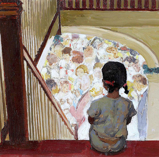 a 1964 Norman Rockwell illustration of a little girl watching the adults at a party