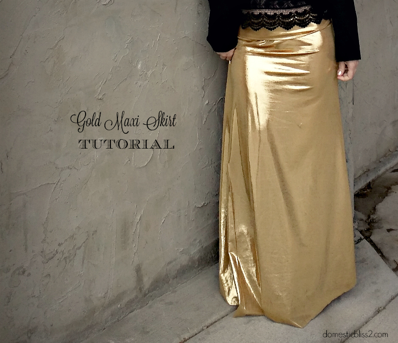 Diy holiday party style: Gold metallic maxi skirt sewing tutorial (with a yoga waistband!)