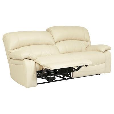 cream leather living room power reclining sofa