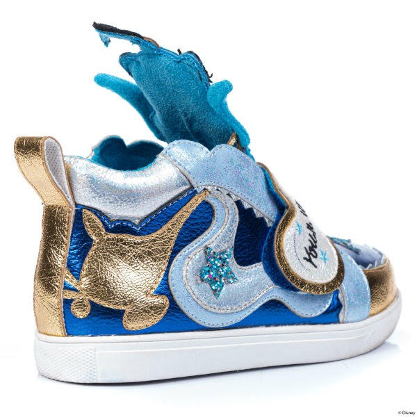 gold and blue metallic trainer with puffed genie tongue