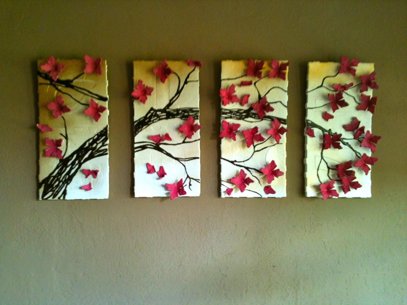 Upcycling DIY Wall Art: 4 Panel Cherry Blossom Tree ...