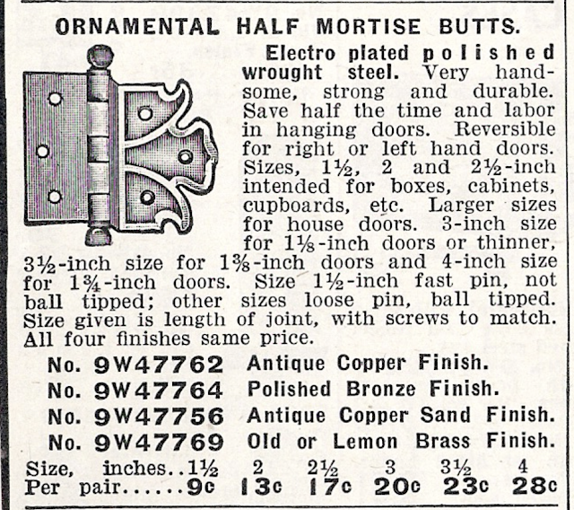 Sears Building Supplies catalog page showing Sears sears-only hinge with butterfly shape