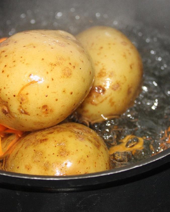new  potatoes boiling in salt water
