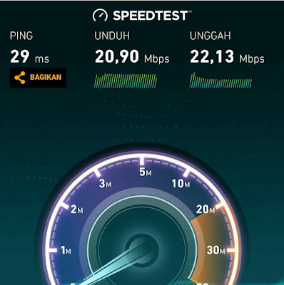 Tes Kecepatan Download & Upload Internet Cepat MNC Play Media Paket 20mbps, simetris/symetris via speedtes.net google playstore aplikasi android