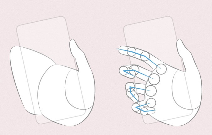Anime tangan memegang proporsi jari