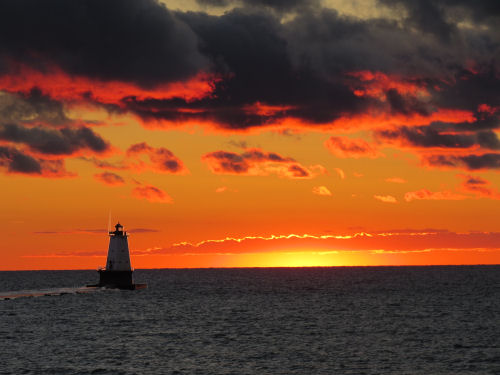 Sunset at the Ludington lighthouse