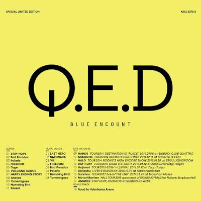BLUE ENCOUNT - Q.E.D 4th album details CD DVD Blu-ray tracklist info album terbaru