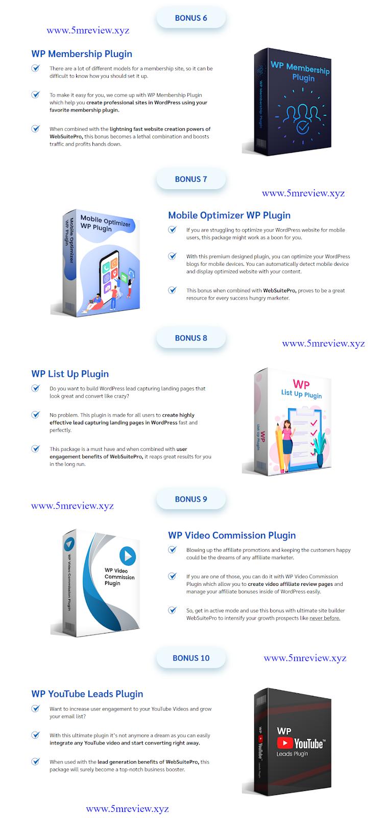 WebSuitePro review Bonus List 2