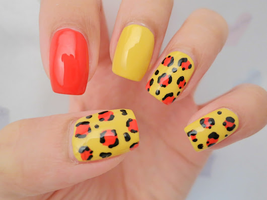 Red and Yellow Leopard Print Nail Art | chichicho~ nail art addicts