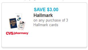 $3.00/3 Hallmark Cards Coupon (go to cvs.com/coupons)