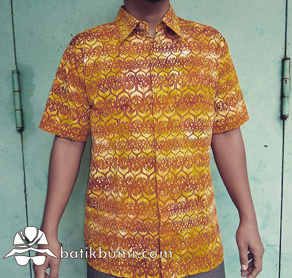 Kemeja Batik Cap Motif Winih Trubus Orange