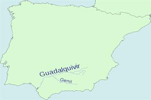 Mapa de localización del río Guadalquivir en la península Ibérica