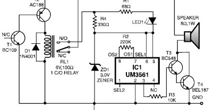 circuit diagram: Heat Detector Alarm Using the UM3561