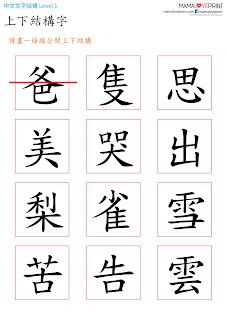 Mama Love Print K3工作紙 - 認識不同的漢字結構 Level 1 -  中文幼稚園工作紙  Kindergarten Chinese Worksheet Free Download
