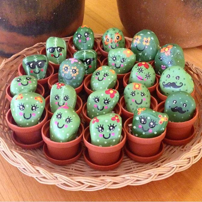pet cactus rocks with adorable faces