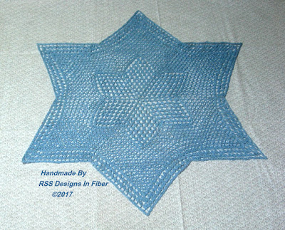 Blue Star Lace 18 Inch Table Centerpiece or Topper - by Ruth Sandra Sperling of RSS Designs In Fiber