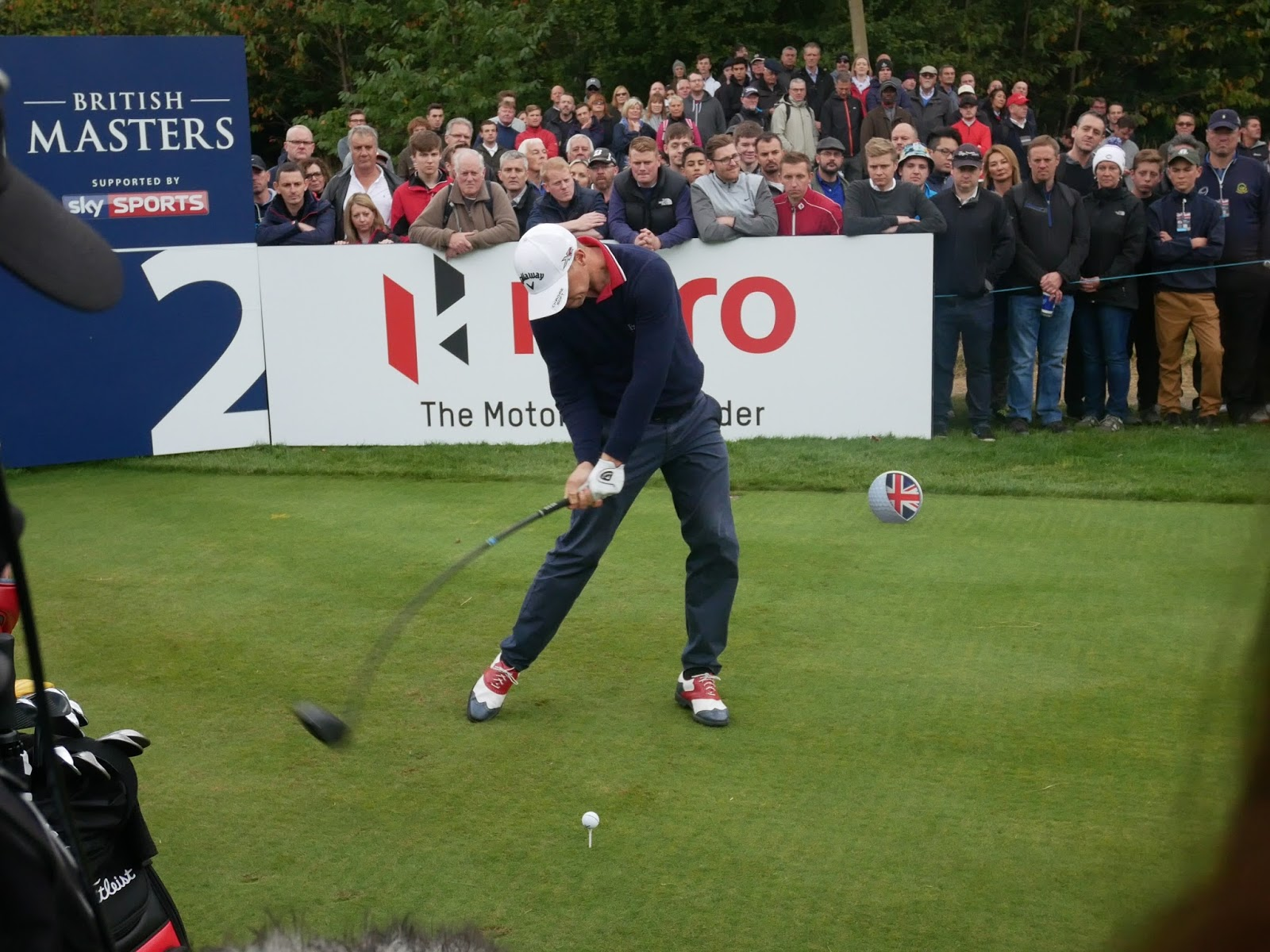 Alex Noren drives at the 2nd hole at the British Masters 2016