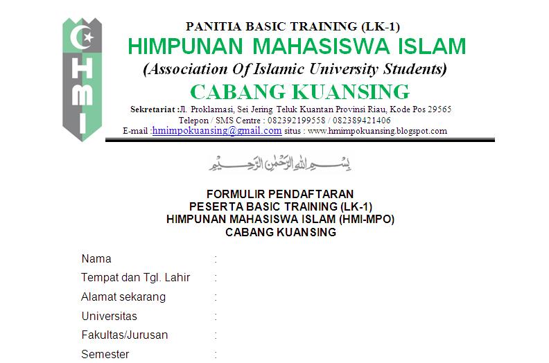 Formulir Pendaftaran Lk I Basic Training Hmi Mpo Cabang Kuansing
