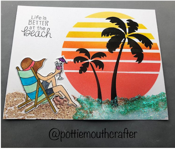 Life's better at the beach by Amanda features Retro Sun & Palms stencil set Summer Moments stamp and die set by Newton's Nook Designs; #inkypaws, #newtonsnook, #cardmaking