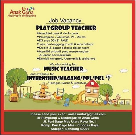 Lowongan Kerja PlayGroup Teacher Anak Ceria Bandung