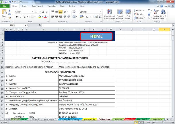 Aplikasi DUPAK 2016 Format Microsoft Excel Terbaru