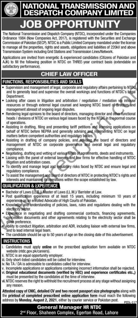 National Transmission and Despatch Company Ltd NTDC Jobs July 2021