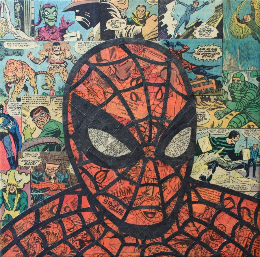 15-Spider-Man-Mike-Alcantara-Comic-Collage-Art-www-designstack-co