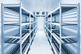 cold storage room interior with shelving and fan coil unit