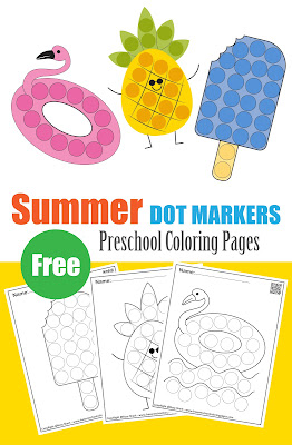 summer dot markers free printables for kids , preschool coloring pages perfect in summer season and holidays for toddlers, preschool, and kindergarten