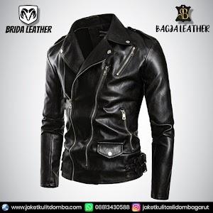 Jual Jaket Kulit Asli Garut Pria Domba Original Brida Leather B43 Ramones   WA 08813430588