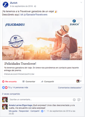ganadora en facebook travelovers de Zurich Seguros