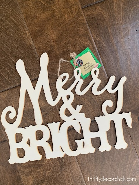 Merry and Bright wood cut out