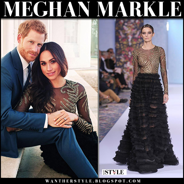 Meghan Markle in black embroidered gown ralph russo on her engagement photos royal fashion december 2017