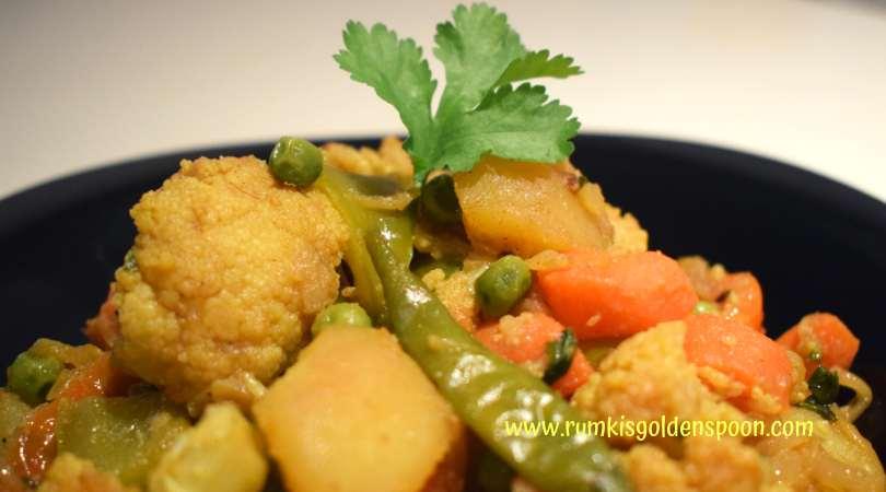 Indian Recipe, Vegetarian, Vegan, Home Style Spicy Mixed Vegetable (Dry Curry), Sookhi Sabji, Rumki's Golden Spoon
