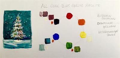 Cool biased palette, Alizarin Crimson, Cadmium Yellow, Ultramarine Blue ©2020 TinaM.Welter