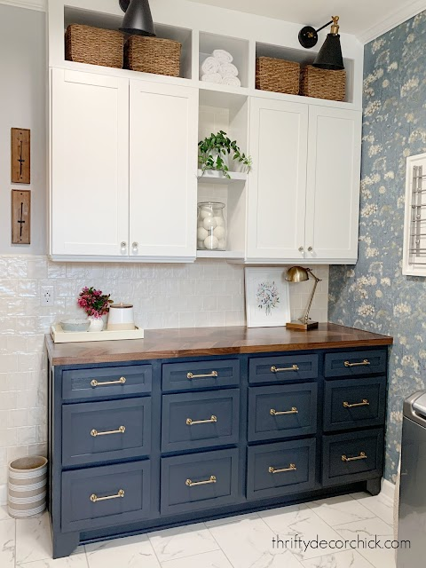dark blue base cabinets white uppers
