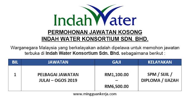 Permohonan Pelbagai Jawatan Kosong Indah Water Konsortium Sdn. Bhd. Julai - Ogos 2019 Dibuka