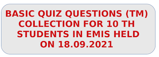 10th Basic Quiz Question and answers