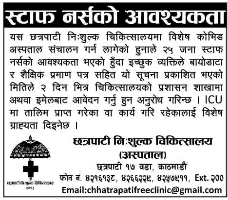Chhatrapati Nisulka Chikitsalaya Vacancy Announcement