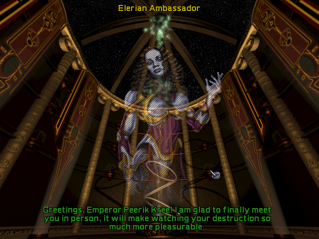 Screenshot of the Elerian Ambassador in Master of Orion II