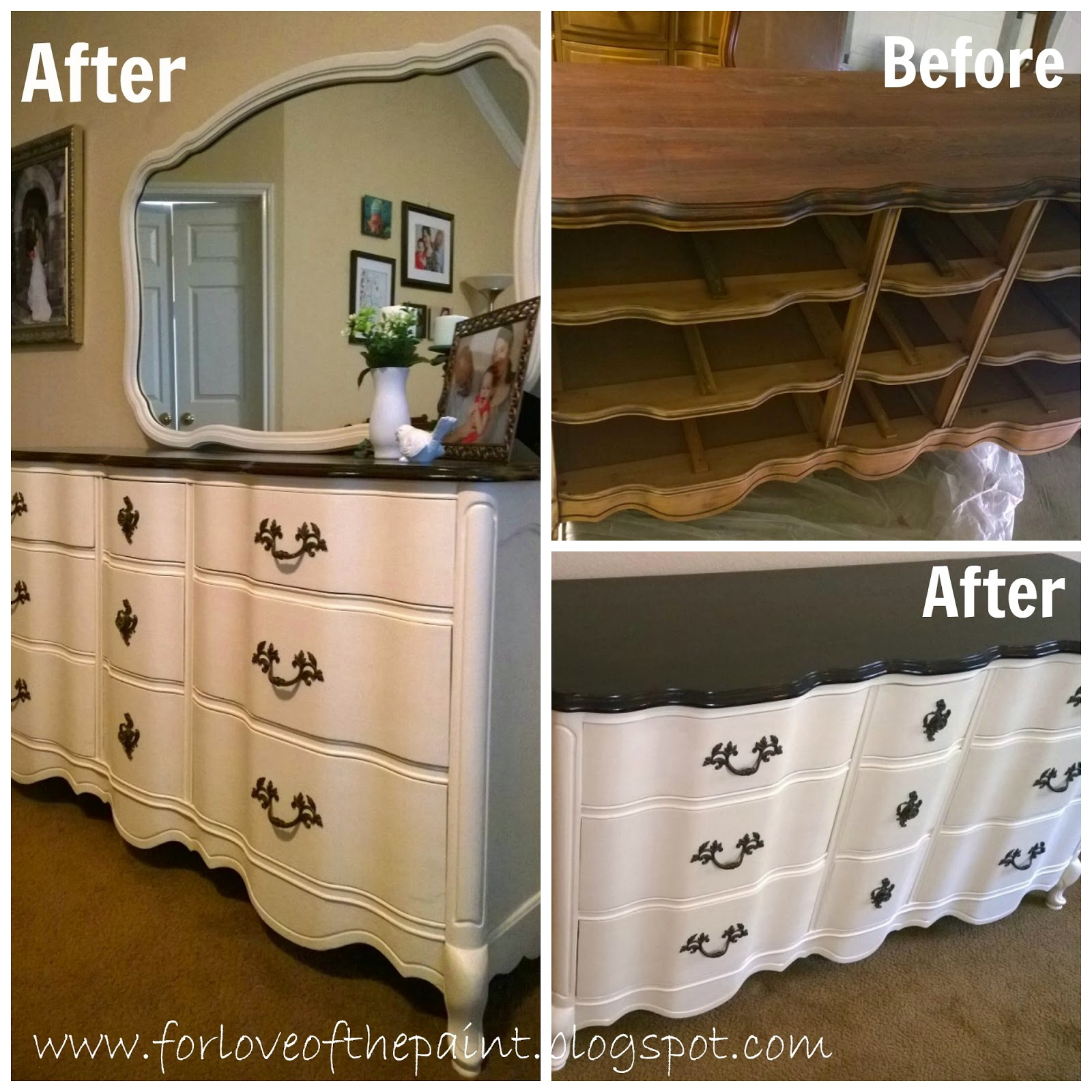 For Love Of The Paint Before And After 9 Drawer French Provincial Dresser With Mirror