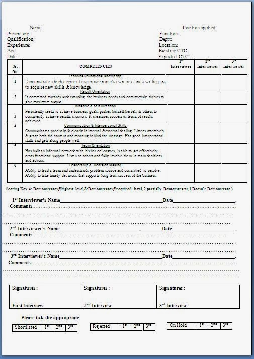 Candidate Evaluation Form Sample Interview Evaluation Form Sample