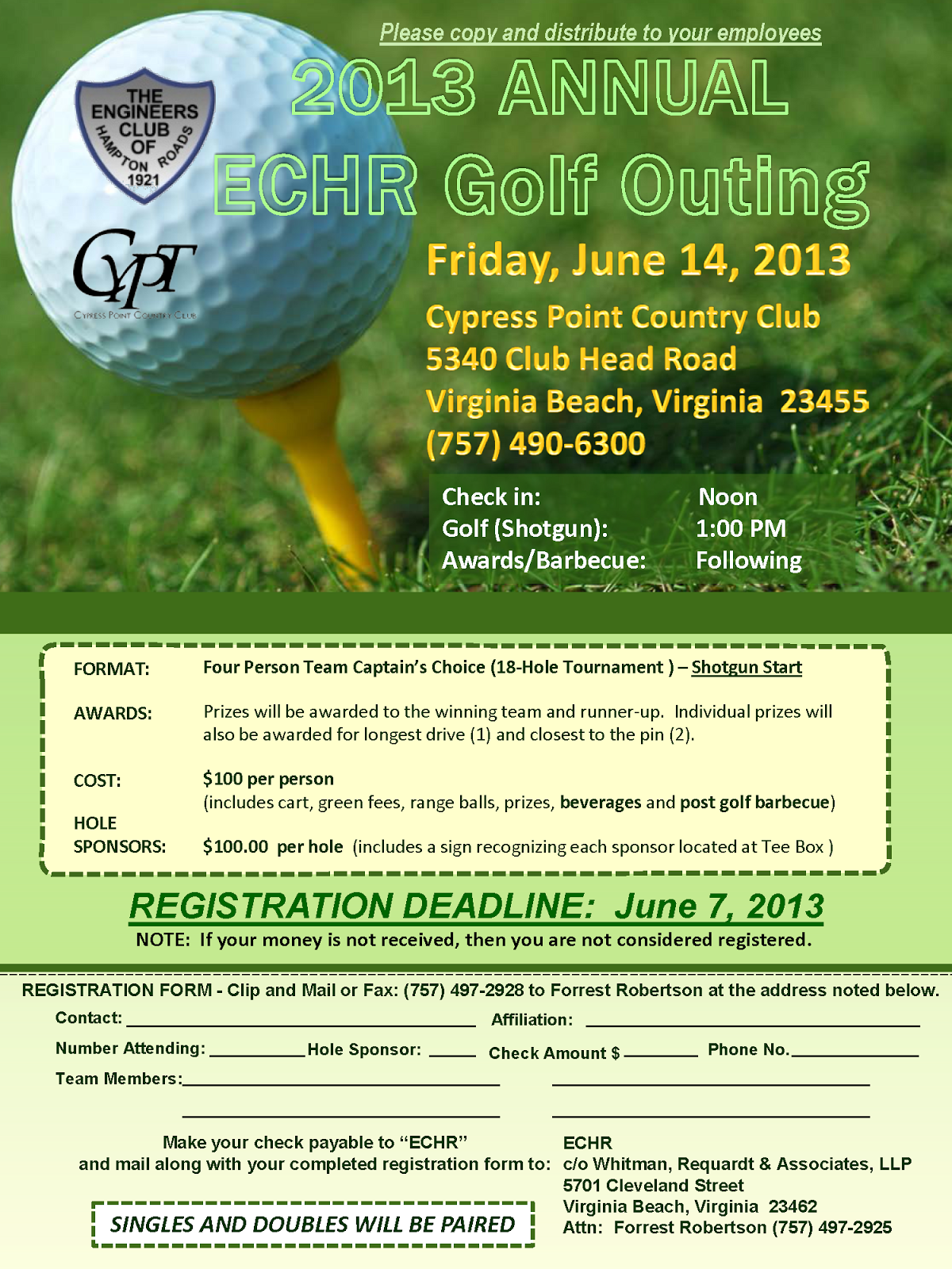 Tidewater Chapter VSPE 2013 Annual ECHR Golf Outing