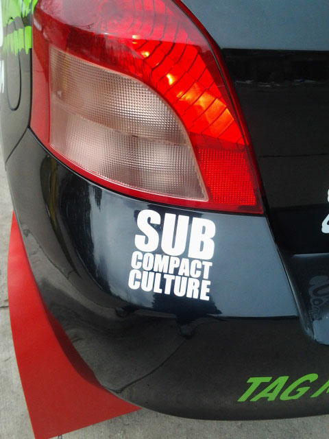 Subcompact Culture decal on the Tag Rally Sport Yaris