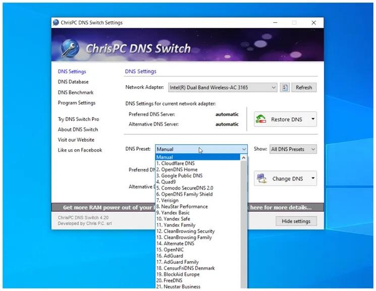 ChrisPC DNS Switch : Ασφαλίστε την περιήγησή σας στο διαδίκτυο
