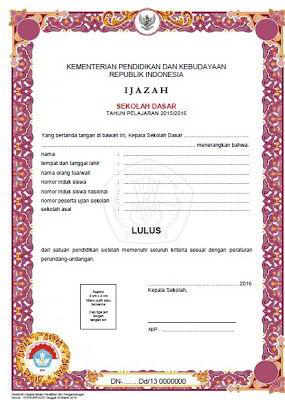 Download Blanko Ijazah SHUN Dikdas dan Dikmen 2016