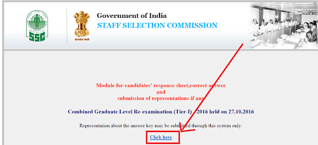 Answer key of SSC CGL Tier-1 2016 Re-exam held on 27.10.2016 Released