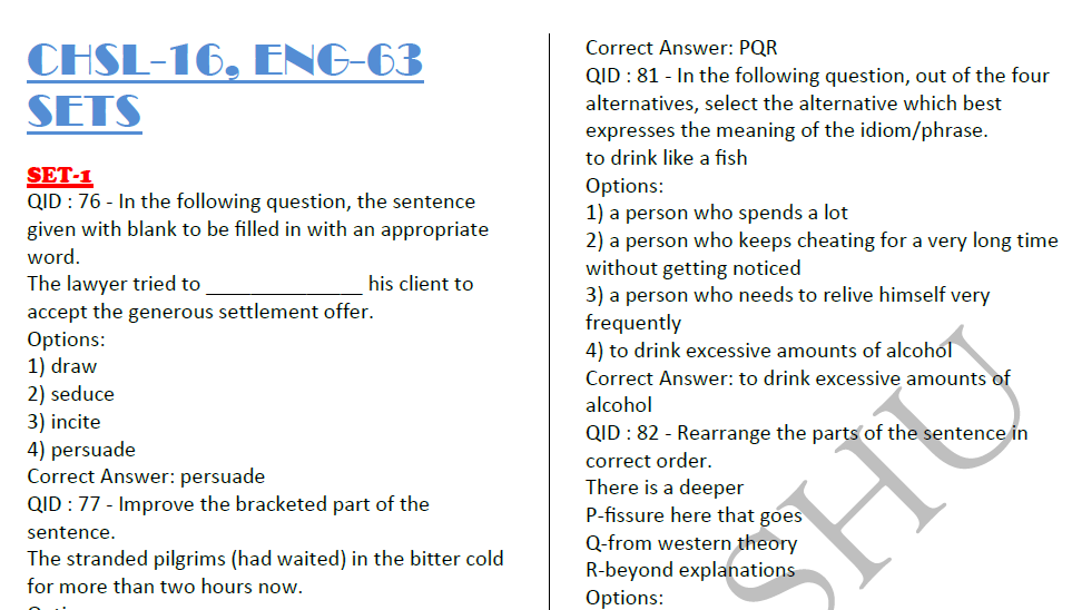 SSC CHSL 2016 English Compilation With Answers 63 Sets PDF Free Download