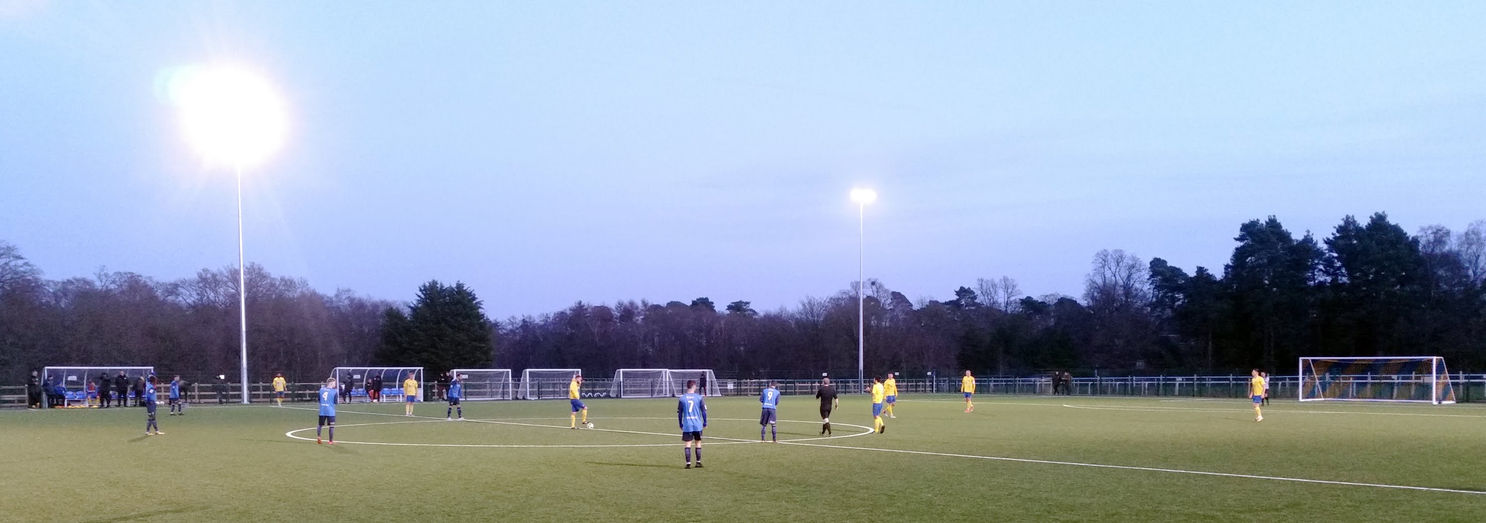 Players preparing for kick off to the second half of Ascot United vs. Knaphill